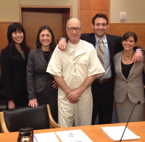 George Souliotes and his legal team (from left): Orrick Attorney Shannon Leong, NCIP Legal Director Linda Starr, George Souliotes, Orrick Attorney Jimmy McBirney and former Orrick Attorney Megan Crane