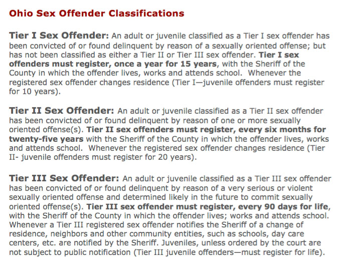 Ohio sex offender extension bill tier iii sex offender
