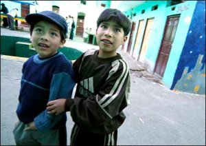 Children living in the Bolivian jails.