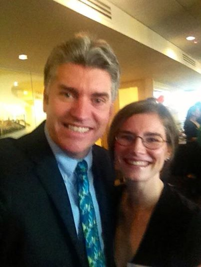 Justin Brooks and Amanda Knox at the launch party of the Oregon Innocence Project